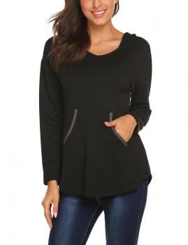 Black Women Casual Long Sleeve Pullover Sweatshirts Tunic Hoodies, Multicolor