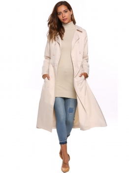 Apricot Solid Double Breasted Long Trench Coat with Belt, Multicolor
