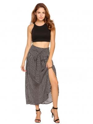 Black Women High Waist Pleated Striped Chiffon Beach Party Maxi Long Skirts
