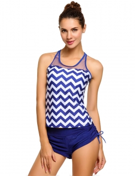 Blue Padded Mesh Racerback Tankini Top with Side Tie Boyshort Swimsuit, Multicolor