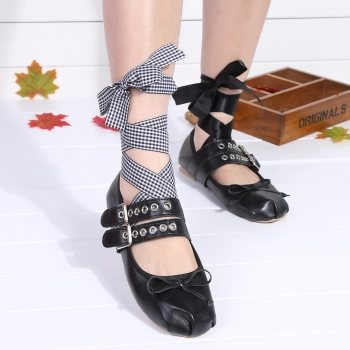 Black Punk Style Lace Up Metal Buckle Bowtie Flat Ballet Shoes, Multicolor