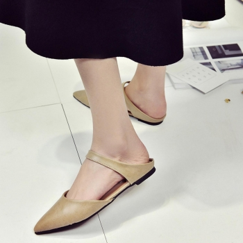 Khaki Casual Point Toe Low Heel Sandals Shoes, Multicolor