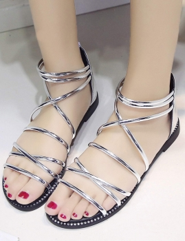 Silver Stud Detail Cross Strap Back Zipper Roman Flat Sandals, Multicolor