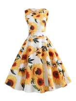 Women Vintage Style Floral Print Round Neck Sleeveless Big Skirt Dress