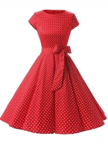 Red Women Fashion Vintage Style Dot Print Short Sleeve Big Skirt Dress