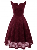 Wine red Women Vintage Style Lace Floral V Neck Sleeveless Slim Cocktail Dress