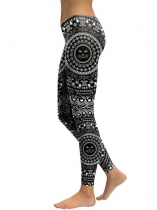 Black Women Mid Waist Printing Fitness Gym Yoga Elastic Leggings