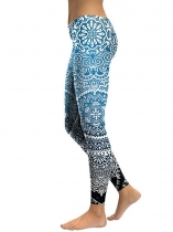 Blue Women Mid Waist Floral Printing Gradient Fitness Gym Yoga Elastic Leggings