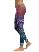 Orange Women Mid Waist Floral Printing Gradient Fitness Gym Yoga Elastic Leggings
