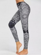Women Bohemian Style Paisley Print Fitness Gym Yoga Skinny Leggings