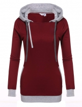 Dark red Hooded Drawstring Long Sleeve Patchwork Pullover Pocket Hoodie