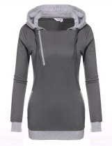 Gray Hooded Drawstring Long Sleeve Patchwork Pullover Pocket Hoodie