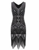 Vintage 1920's Style Slim Package Hip V Neck Tassel Sequined Flapper Dress