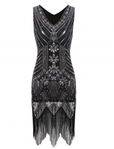 Silver Vintage 1920s Style Package Hip Tassel Sequined Flapper Party Dress d09b18ea6383