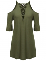 Army green V-Neck Solid Cross-straps Cold Shoulder Pleated Hem Tunics