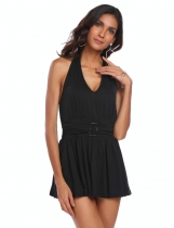 Black Halter Backless Sleeveless Pleated Hem Dress