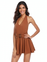 Coffee Halter Backless Sleeveless Pleated Hem Dress