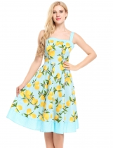 Light blue Femmes Vintage Styles Prints Patchwork A-Line Plissé Hem Tank Dress