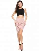 Pink Solid Asymmetric Hem Package Hip Slim Skirt