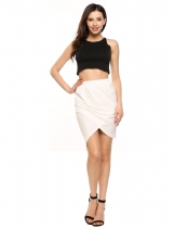White Solid Asymmetric Hem Package Hip Slim Skirt