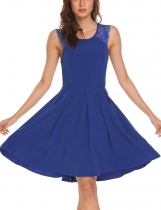 Blue Women's A-Line Pleated O-Neck Sleeveless Lace Patchwork Dress
