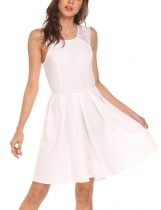 White Women's A-Line Pleated O-Neck Sleeveless Lace Patchwork Dress