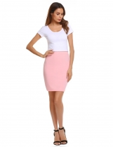 Pink Elastic Waist Band Stretchy Solid Pencil Skirt