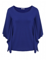 Blue Short Sleeve O Neck Solid Loose Poncho Tops