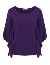 Purple Short Sleeve O Neck Solid Loose Poncho Tops