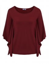 Wine red Short Sleeve O Neck Solid Loose Poncho Tops