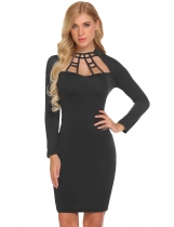 Black Women Long Sleeve Hollow Out Solid Party Bodycon Dress