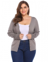 Coffee Women Plus Size V-Neck Long Sleeve Button Down Slim Cardigan