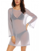 Silver Grey Women Casual O Neck Long Sleeve Solid See Through Loose Basic Party Dress