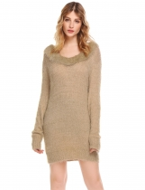 Beige Women Casual Ruffle V-Neck Long Sleeve Pullover Thread Hem Sweater
