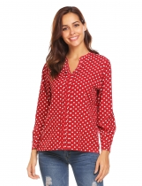 Vinho tinto Women Notch Neck manga comprida polka Blusa casual
