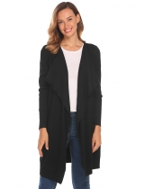 Black Women Long Sleeve Open Front Draped Thin Knit Sweater Cardigan w/ Pocket