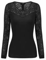 Black Women Long Sleeve Back Button Décor Lace Patchwork Slim Fit T-Shirt Top