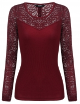 Wine red Women Long Sleeve Back Button Décor Lace Patchwork Slim Fit T-Shirt Top