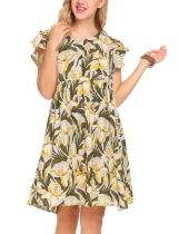 Yellow Women Short Trumpet Sleeve High Waist Floral Pleated O-Neck Dress