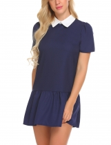 Navy blue Women Fashion Solid Doll Collar Tie Contrast Color Back Zipper Dress