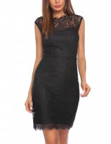 Black Moda mujer O cuello Bobycon Slim Pencil Lace Dress