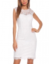 White Women Fashion O-Neck Bobycon Slim Pencil Lace Dress