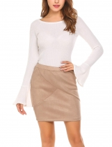 Khaki Women High Waist Solid Faux Suede Club Cocktail Mini Pencil Skirt