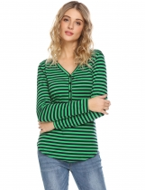 Green Women V-Neck Long Sleeve Button Front Striped Slim Fit Casual T-Shirt Top