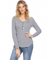 Gray Women V-Neck Long Sleeve Button Front Striped Slim Fit Casual T-Shirt Top