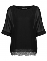 Black Women O-Neck Batwing Sleeve Casual Solid Chiffon Blouse Tops