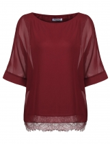 Wine red Women O-Neck Batwing Sleeve Casual Solid Chiffon Blouse Tops