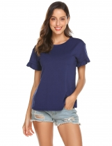 Navy blue Women Casual Round Neck Short Ruffle Sleeve Solid T-Shirt