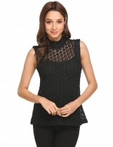 Black Women Mock Neck Sleeveless Hollow Lace Tank Top