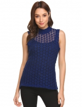 Navy blue Women Mock Neck Sleeveless Hollow Lace Tank Top